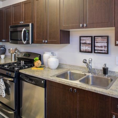 Stainless steel appliances at 17 Barkley Apartments in Gaithersburg, MD