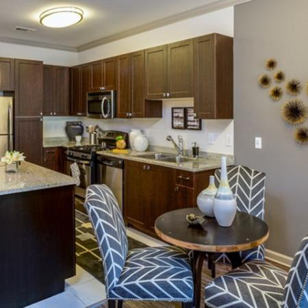 Gourmet kitchens with custom pantries at 17 Barkley Apartments in Gaithersburg, MD
