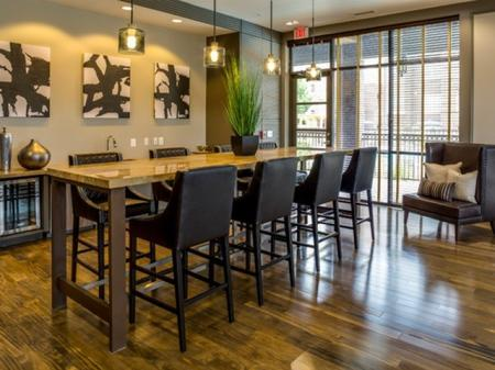 Social spaces at 17 Barkley Apartments in Gaithersburg, MD