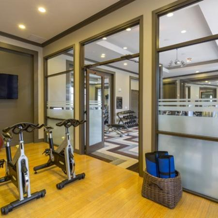 Virtual fitness center at the fitness center at 17 Barkley Apartments in Gaithersburg, MD