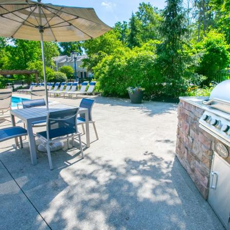 Poolside grilling station at Williamsburg Townhomes in Sagamore Hills, Ohio