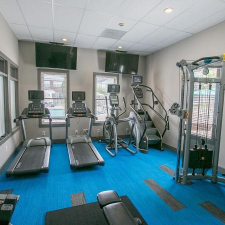 State-of-the-art fitness equipment at The Residence at Barrington in Aurora, Ohio