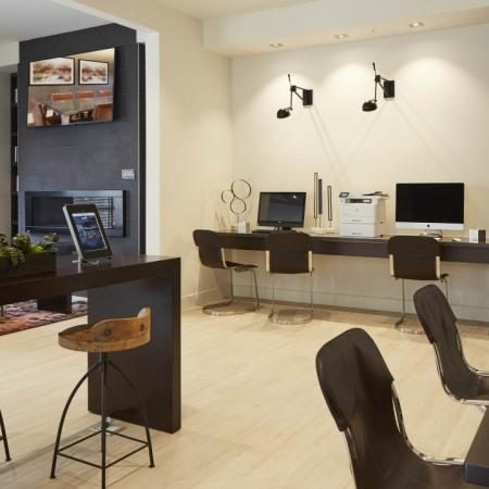 Cyber studio and business lounge at Mave Apartments in Stoneham, MA