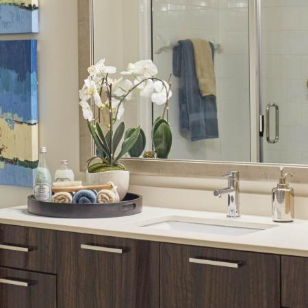 Spa-like bathrooms at Mave Apartments in Stoneham, MA