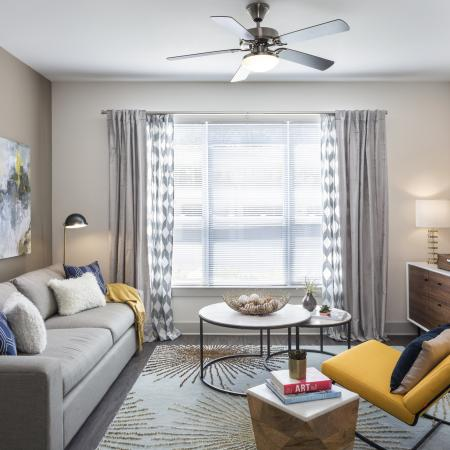 Light filled living room at Talia Luxury Apartments in Marlborough, MA