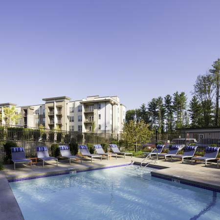 Exterior and swimming pool at Talia Luxury Apartments in Marlborough, MA