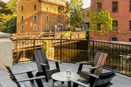 Beautiful seating areas in the heart of the city at Baker Chocolate Factory Apartments in Boston, MA
