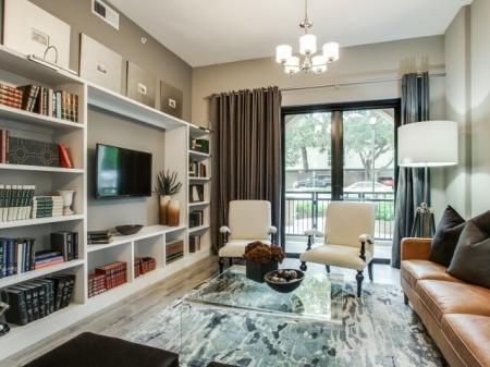Elegant Living Room at Cantabria at Turtle Creek in Dallas, TX