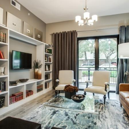 Elegant Living Room at Cantabria at Turtle Creek in Dallas, TX