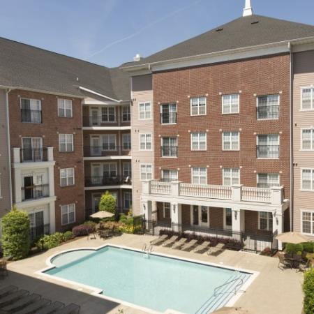 Aerial Pool View at The Alexander at Ghent Apartment Homes in Norfolk, VA