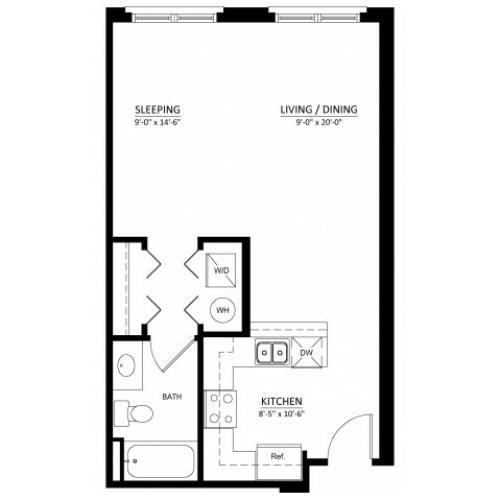 Studio with one bathroom S1 Floorplan at Dwell Vienna Metro Apartments in Fairfax, VA