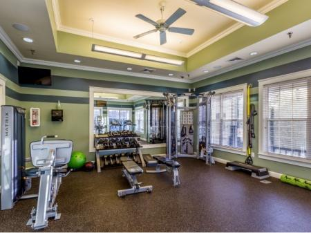Fitness center at Grand Reserve Orange Apartments in Orange, CT.