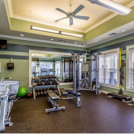 Fitness center at Grand Reserve Orange Apartments in Orange, CT.