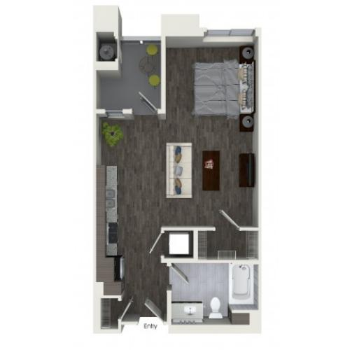S1 Studio One Bath Floorplan at Areum Apartments in Monrovia CA