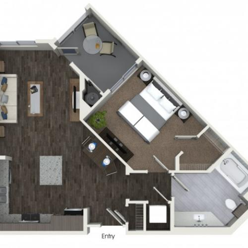 A1 One Bedroom One Bath Floor Plan at Areum Apartments in Monrovia CA
