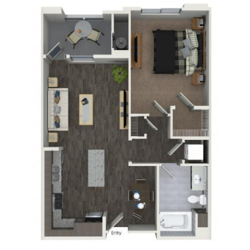 A2.1 One Bedroom One Bath Floor Plan at Areum Apartments in Monrovia CA