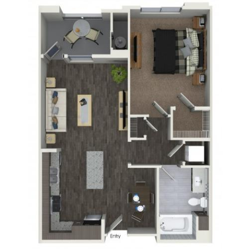 A2.2 One Bedroom One Bath Floorplan at Areum Apartments in Monrovia CA