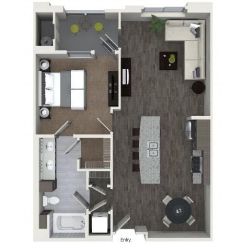 A3.1 One Bedroom One Bath Floorplan at Areum Apartments in Monrovia CA