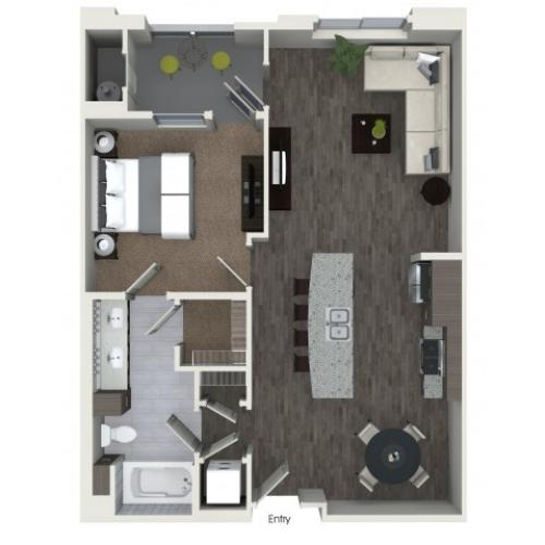 A3.2 One Bedroom One Bath Floorplan at Areum Apartments in Monrovia CA