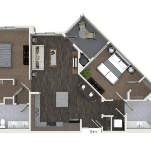 B1 Two Bedroom Two Bath Floorplan at Areum Apartments in Monrovia CA