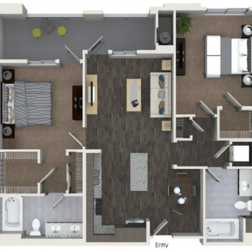 B2.1 Two Bedroom Two Bath Floorplan at Areum Apartments in Monrovia CA