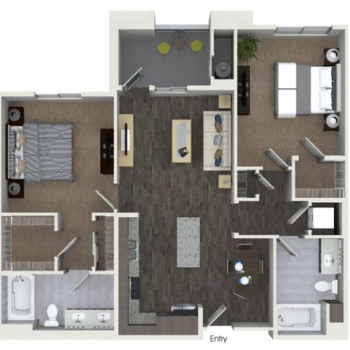 B2.2 Two Bedroom Two Bath Floorplan at Areum Apartments in Monrovia CA