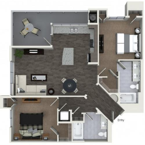 B3 Two Bedroom Two Bath Floorplan at Areum Apartments in Monrovia CA