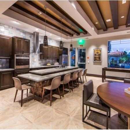 Gourmet kitchen at Valentia Apartments in La Habra, CA