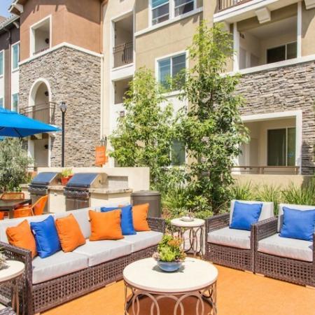 Outdoor Seating at Valentia Apartments in La Habra, CA