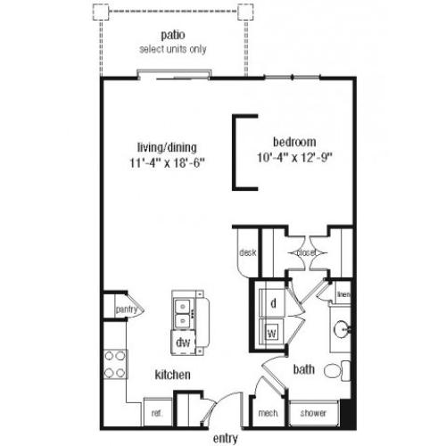 Studio one bathroom S2 floorplan at The Alexander at Ghent Apartment Homes in Norfolk, VA