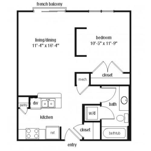 One bedroom one bathroom A1 floorplan at The Alexander at Ghent Apartment Homes in Norfolk, VA