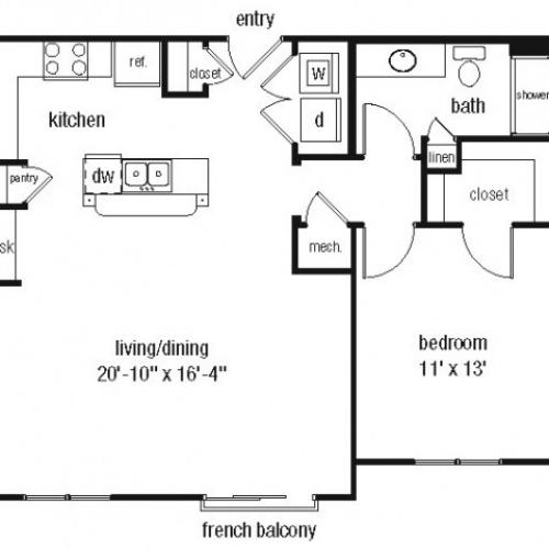 One bedroom one bathroom A3 floorplan at The Alexander at Ghent Apartment Homes in Norfolk, VA