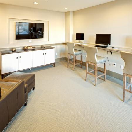 Media lounge at Lofts at Weston Lakeside Apartments in Cary, NC