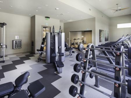 24 Hour Fitness Center at Skye Apartments in Vista, CA.