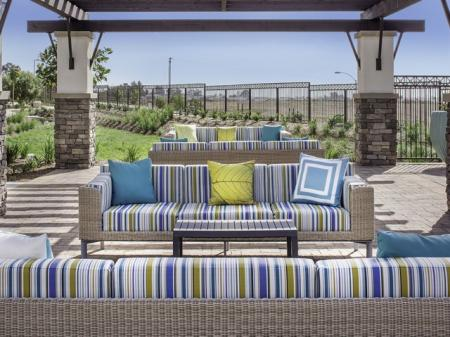 Outdoor Seating at Skye Apartments in Vista, CA.