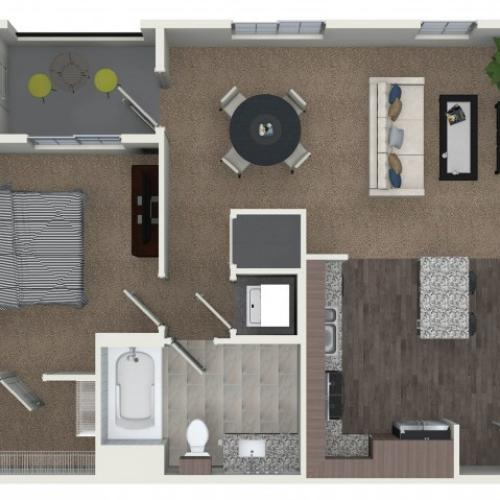 1 bedroom 1 bathroom A1 floorplan at Andorra Apartments in Camarillo, CA