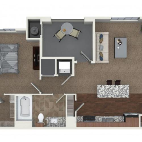 1 bedroom 1 bathroom A2 floorplan at Andorra Apartments in Camarillo, CA