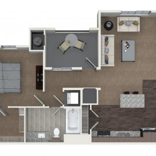 1 bedroom 1 bathroom A3.1 floorplan at Andorra Apartments in Camarillo, CA