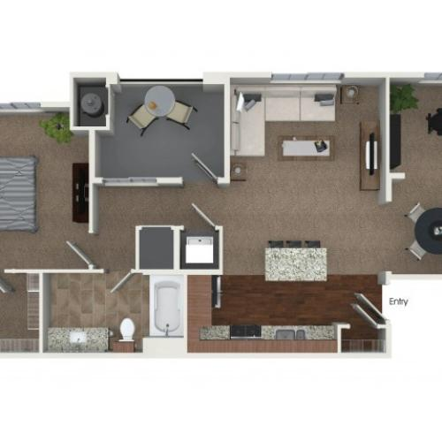 1 bedroom 1 bathroom plus Den A4D floorplan at Andorra Apartments in Camarillo, CA