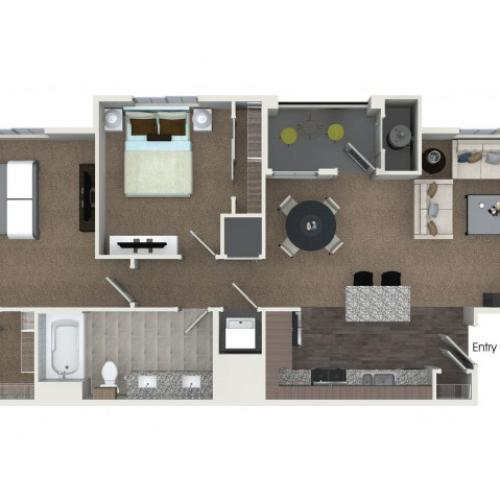 2 bedrooms 1 bathroom B1 floorplan at Andorra Apartments in Camarillo, CA