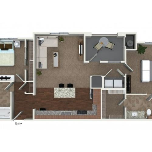 2 bedrooms 2 bathrooms B2 floorplan at Andorra Apartments in Camarillo, CA