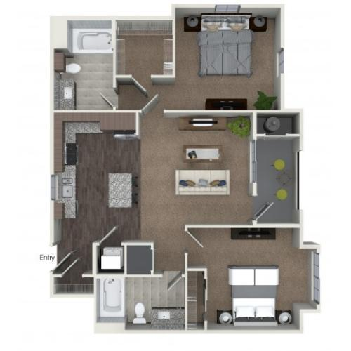 2 bedrooms 2 bathrooms B3 floorplan at Andorra Apartments in Camarillo, CA