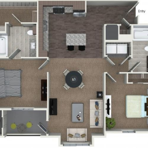 2 bedrooms 2 bathrooms B5 floorplan at Andorra Apartments in Camarillo, CA