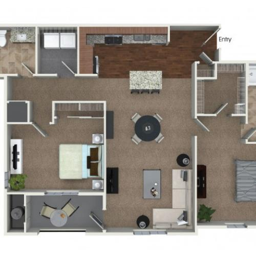 2 bedrooms 2 bathrooms B6 floorplan at Andorra Apartments in Camarillo, CA