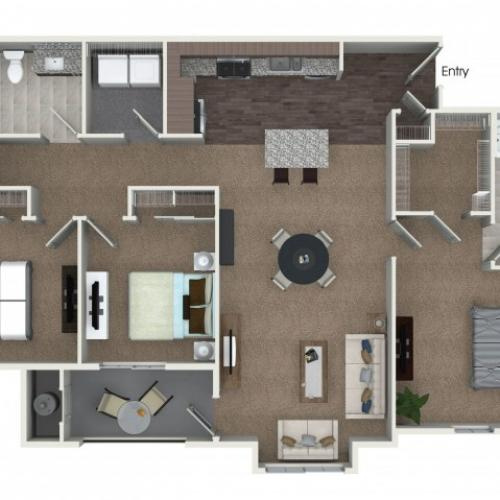 3 bedrooms 2 bathrooms C1 floorplan at Andorra Apartments in Camarillo, CA