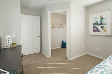 Renovated master suite closet at Bella Vista Apartments in Elk Grove CA