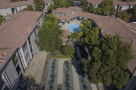 Rose garden aerial photo at Bella Vista Apartments in Elk Grove CA