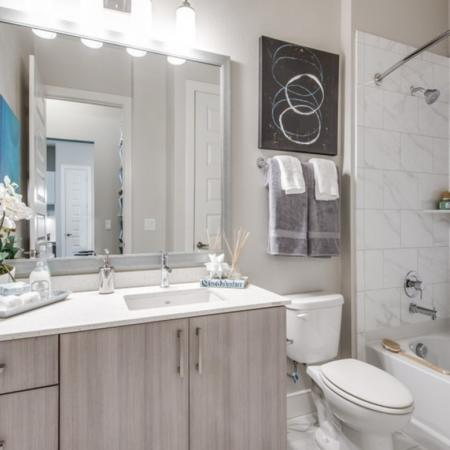 Guest bathroom at Inwood Station apartments in Dallas TX