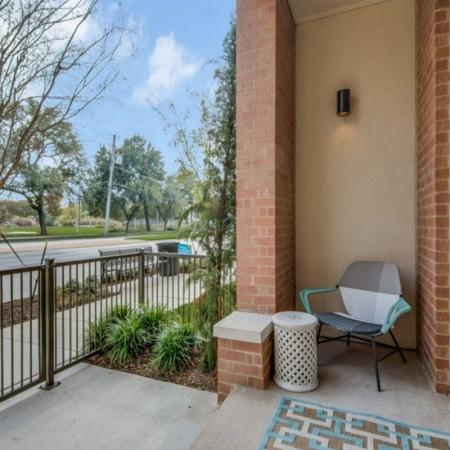 Private patio at Inwood Station apartments in Dallas TX