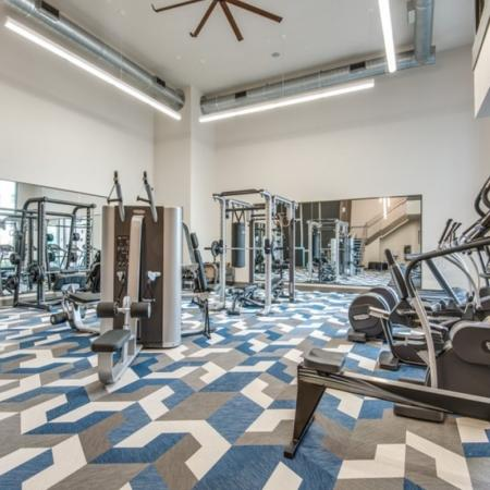 Fitness center at Inwood Station Apartments in Dallas, TX
